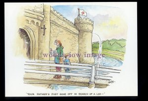 BES131 - Castle - Father's just gone to the Loo!! - comic postcard by Besley