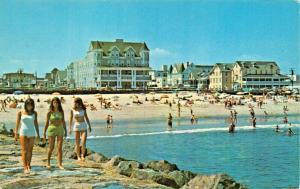 OCEAN GROVE NEW JERSEY-NORTH BEACH FROM THE JETTY~1969 PSMK POSTCARD
