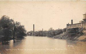 G34/ Pontiac Illinois RPPC Postcard 1913 Vermillion River Suspension Bridge