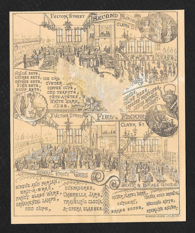 VICTORIAN TRADE CARDS Fulton Street Dry Goods Grecian Urns & Man c/late 1800s