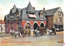 Central Falls RI Fire Department Horse & Fire Fighting Apparatus Postcard