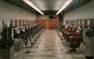 Barber Chairs - Iowa Barber College Des Moines c1950s Postcard