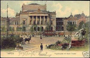 germany LEIPZIG Augustusplatz Theater THEATRE 1904 TRAM