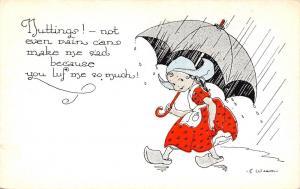 Dutch Kids Comics~Girl In Rain But Nutting! Can Make Sad~Umbrella~E Weaver