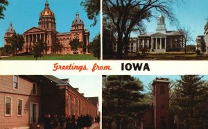 Vintage Postcard State Capitol Des Moines Greetings From Iowa IA