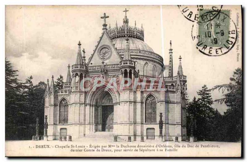 Postcard Dreux Old Chapel St. Louis built by M Dowager Duchess of Orleans