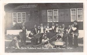 C76/ New Glarus Wisconsin Wi RPPC Real Photo Postcard Swiss Yodelers Chalet c30s
