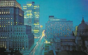 Canada Montreal Night view of Dorchester Street looking east 03.87
