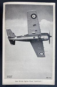 Mint England RPPC Postcard RAF New British Fighter Plane Martlet I
