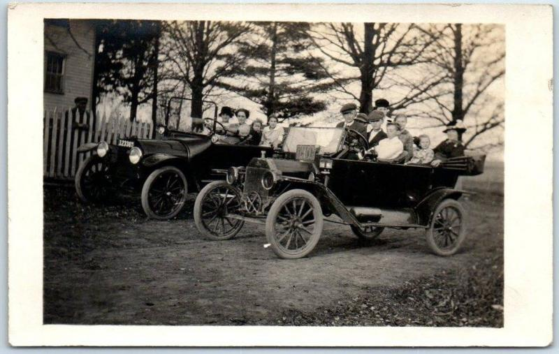 1910s RPPC Real Photo Postcard 2 Loaded Automobiles / Boy & Woman Driving