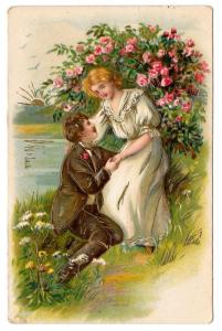 Romance Couple Man at Womans Knee Lovers Roses Vntg Postcard
