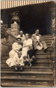 1910s Real Photo RPPC Postcard BILLY SUNDAY AND FAMILY AT HOME Winona Lake IN