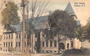 Clinton New York High School Street View Antique Postcard K52137