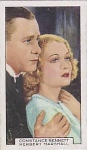 Gallaher Cigarette Card Film Partners No. 42 Constance Bennett And Herbert Ma...
