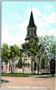 Topeka, Kansas Postcard First Congregational Church Street View c1910s