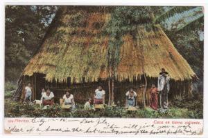 Casa en tierra caliente Mexico 1906 postcard