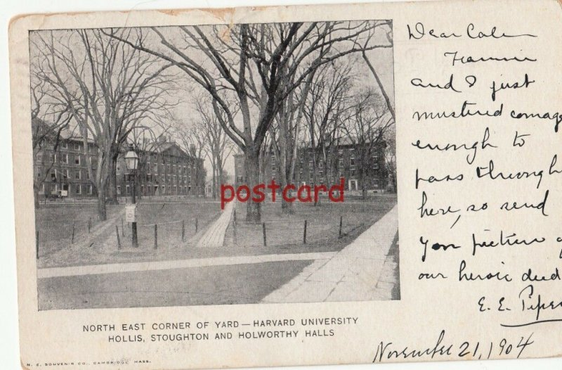 1904 HARVARD UNIVERSITY Northeast Corner,  Hollis, Stoughton & Holworthy Halls