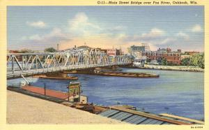 Main Street Bridge over Fox River - Oshkosh WI, Wisconsin - Linen