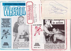 Johnny Saint Chic Cullen Wrestling 1985 Hand Signed Theatre Fight Programme