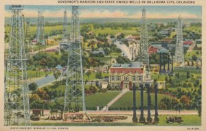 OKLAHOMA CITY, Oklahoma, 1930-40s; Governor's Mansion and State Owned Oil  Wells