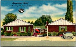 Reno, Nevada Postcard SUBURBAN MOTEL 101 East Arroyo Street Linen c1950s Unused