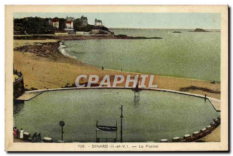 Cpa dinard i et v la piscine hippostcard for Piscine dinard