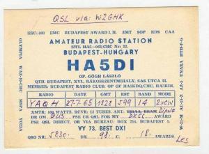 QSL card, Budapest, Hungary 50-60s