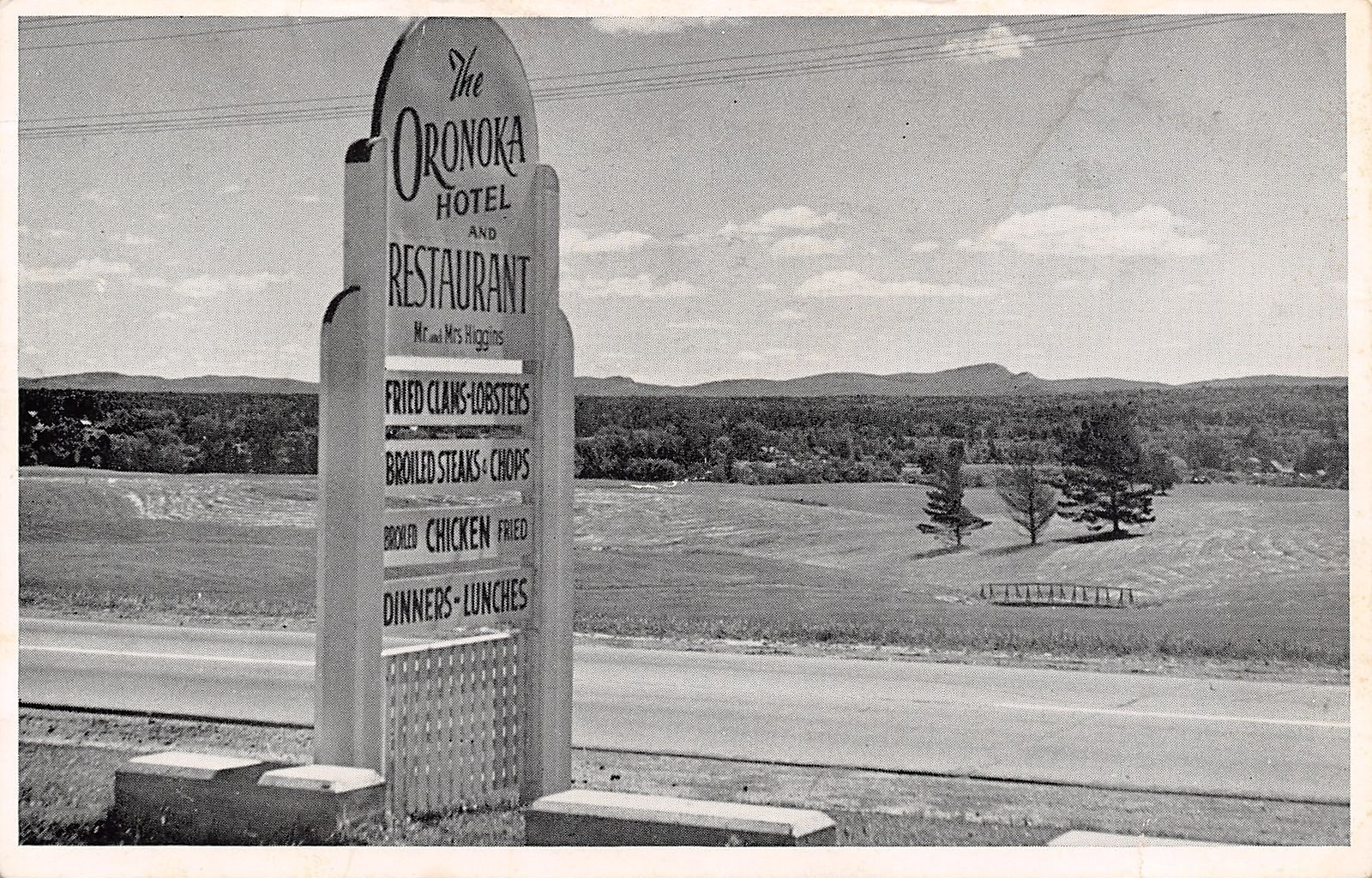 Orono Bangor Me Higgins Oronoka Hotel Restaurant Sign