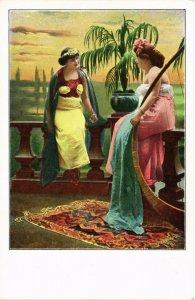 PC CPA ARABIAN TYPES AND SCENES, DANCER LADIES, Vintage Postcard (b17425)