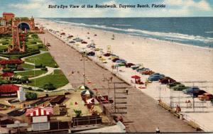 Florida Daytona Beach Birds Eye View Of The Boardwalk 1957 Curteich
