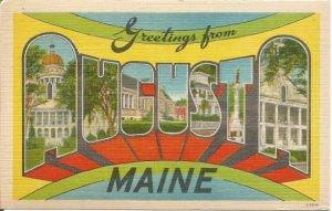 Augusta Maine Large Letter Big Letter Vintage Postcard Linen