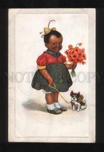 056690 BLACK Americana Girl w/ FRENCH BULLDOG old