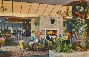 JASPER, Alberta, Canada, 1940-60s; Interior Jasper Park Lodge, Totem Poles