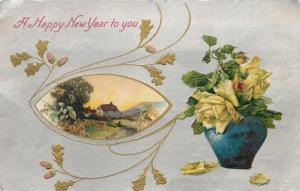 New Year~Yellow Roses~Blue Jar Vase~Gold Art Nouveau Leaves~Silver Back~Winsch