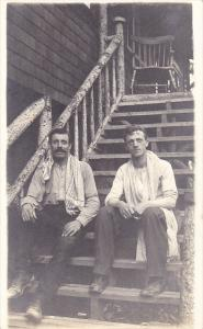 RP, Two Men Sitting On The Stairs, CPR Camp, CALGARY, Alberta, Canada, 1920-1...