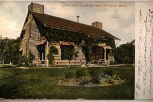 pre-1907 PALMER PARK LOG CABIN in Detroit Michigan MI postcard v0913