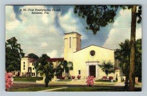Sarasota FL, First Presbyterian Church, Linen Florida Postcard