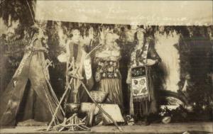 White Women Eastman Trio Dressed as Native Indians Tepee Stage Set RPPC c1915