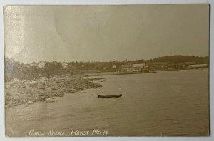 Old Divided Back Era Real Photo Postcard RPPC Coast Scene Haven, Maine Used 1913