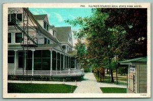 Starved Rock Illinois~Hotel Close Up~Veranda~Fire Escape~Hydrant Box~1920s