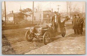 Bloomington IL~Billy Sunday Arrives in Car~Jordan Realtor~1908 CU Williams RPPC