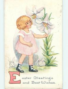 Pre-Linen BUNNY RABBITS WATCH CUTE GIRL BESIDE GIANT EASTER LILY FLOWERS hr2531