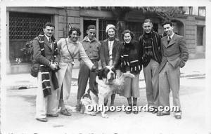 People With Dogs Real Photo Postcard Unused