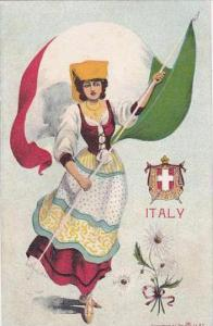 Italy Woman In Native Costume With Flag