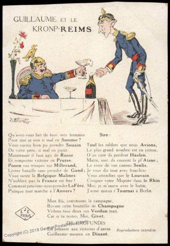 France WWI-era Political Anti-German Kaiser Wilhelm II Patriotic Postcard 75333