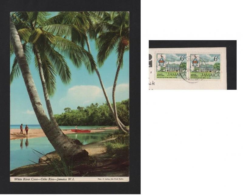 JAMAICA stamps postcard WHITE RIVER COVE OCHO RIOS 1970years