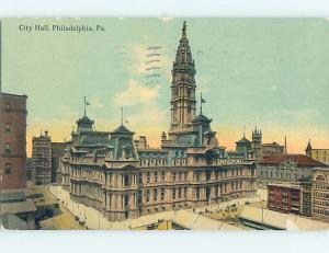 Divided Back CITY HALL SCENE Philadelphia Pennsylvania PA hs6295