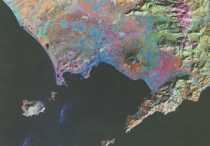 Bay Of Naples Italy From Outer Space Astronomy Map Postcard