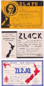 Napier Dunedin 3x QSL Radio Breaker Antique New Zealand Postcard Card s