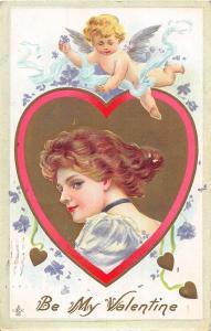 C4/ Valentine's Day Love Holiday Postcard 1912 Lackawanna NY Girl Gold Cupid 15